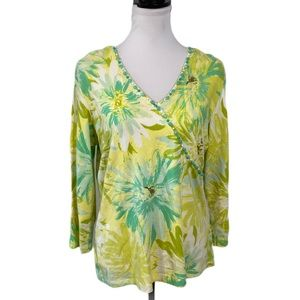 Ruby Rd Knit Top M Floral Beaded V Neck St…